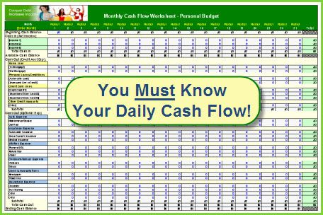 Printables Personal Cash Flow Worksheet worksheets and the ojays on pinterest