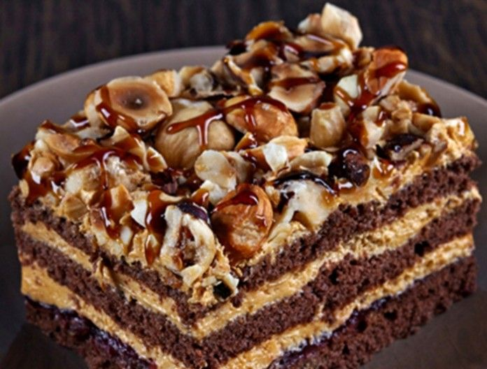 Chocolate cake with caramel cream