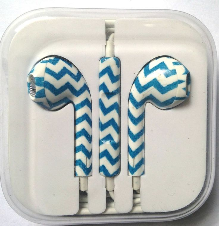 iPhone 5 5S 5C Headphones Earpods Mic and Volume Controller Blue White Stripes