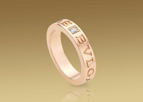 bulgari bulgari bulgari ring in 18 kt pink gold with diamond an854185