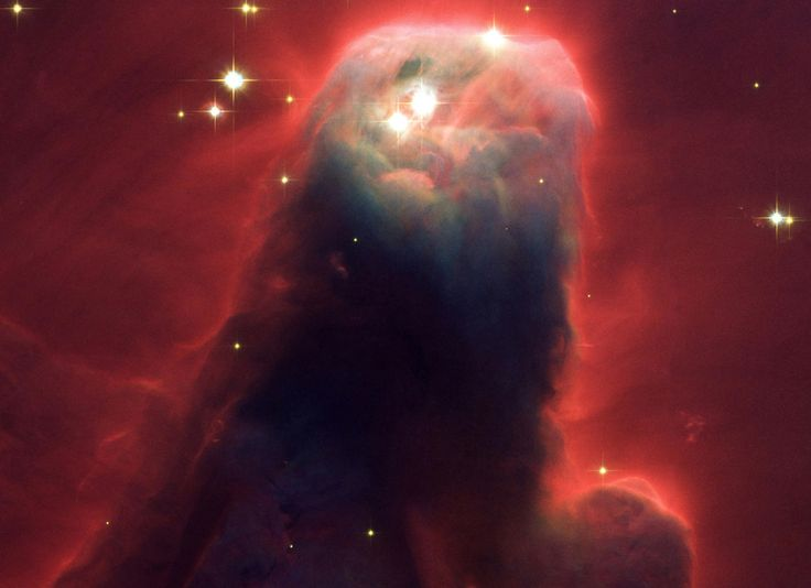 pillar of gas and dust. Called the Cone Nebula (NGC 2264) because in ground-based images it has a conical shape, this giant pillar resides in a turbulent star-forming region. This picture, taken April 2, 2002, by the Advanced Camera for Surveys (ACS) aboard NASA's Hubble Space Telescope, shows the upper 2.5 light-yearsof the nebula, a height that equals 23 million roundtrips to the Moon. The entire nebula is 7 light-years long. The Cone Nebula resides 2,500 light-years away in the constellation: Hubble Spaces Telescope, Cosmo, Ngc 2264, Finals Frontier, Hubble Telescope, Cone Nebula, Advent Calendar, Nebulas Ngc, Outer Spaces