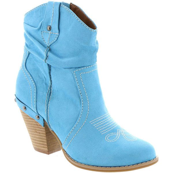 DOLCE by Mojo Moxy Menzie Women's Blue Boot 7 M (4.550 RUB) ❤ liked on Polyvore featuring shoes, boots, blue, blue boots, studded cowgirl boots, high heel cowgirl boots, studded cowboy boots and western boots