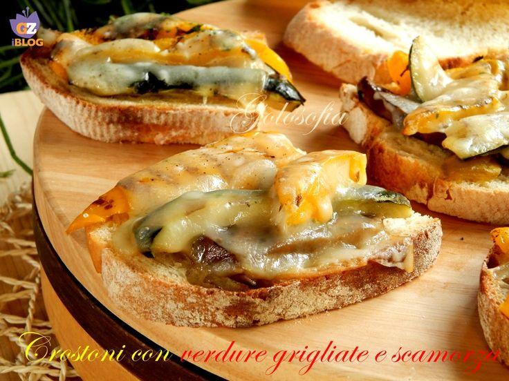 Crostoni con verdure grigliate e scamorza-ricetta antipasti-golosofia