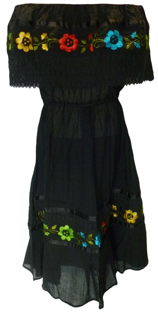 ASSORTED CROCHET Embroidered Mexican Dress PEASANT Vintage ONE SIZE Fits M-XL #Handmade #Maxi $33 ebay...mdb