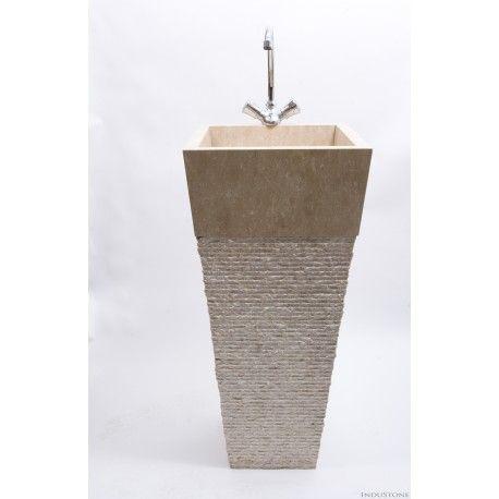 KOTAK CREAM A 40x90 cm kamienna umywalka stojąca z otworem na baterię INDUSTONE