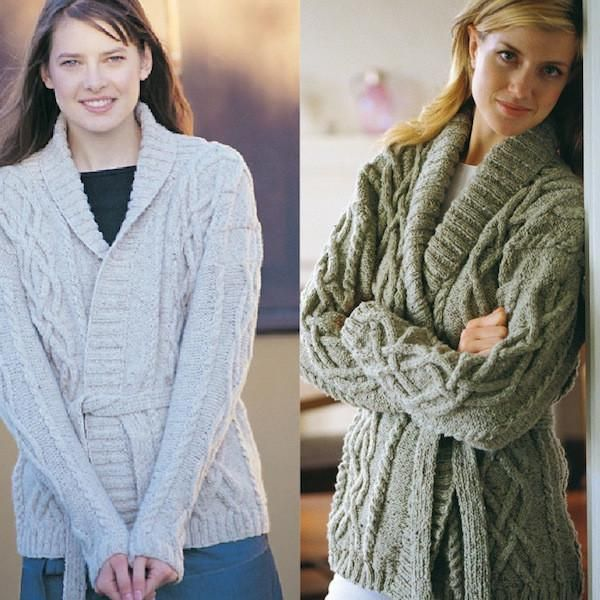 Cable Wrap Cardigan and Hat - Pattern Leaflet - I Wool Knit - 1