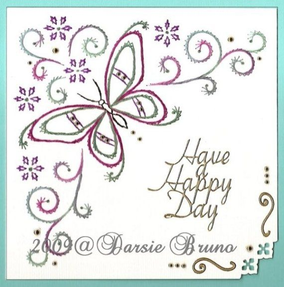 Pretty floral butterfly card using a paper embroidery