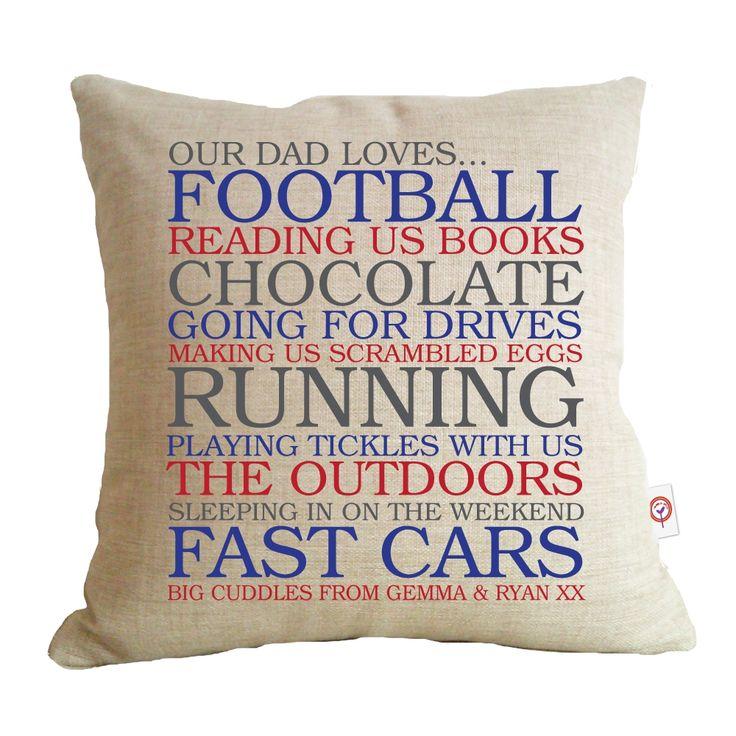 hardtofind.   Dad's list of loves personalised cushion