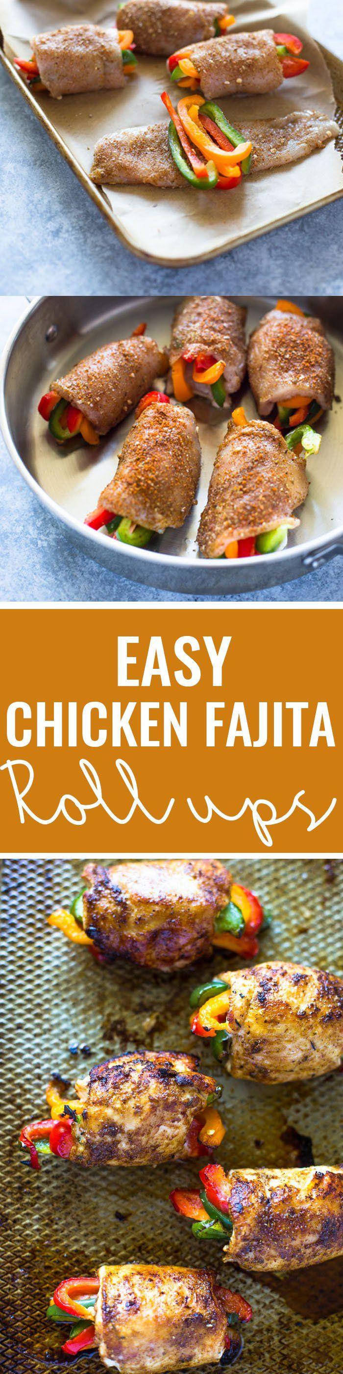 Baked Chicken Fajita Roll-ups | Gimme Delicious