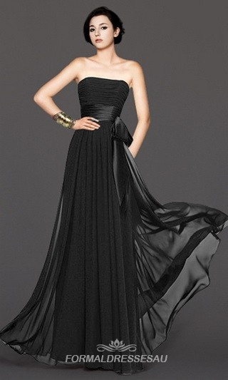 Pleated Simple Black Strapless Bridesmaid Dresses With Waist Band FDA0062