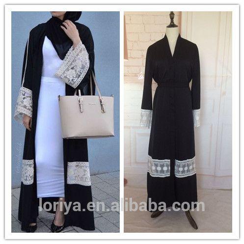 Islamic new modal abaya in dubai latest burqa designs black abaya with belt in stock muslim dubai lace front open abaya