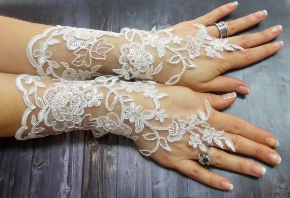 Free Shipping Long Wedding Gloves French Lace Long by DoveGlove Look celeste!