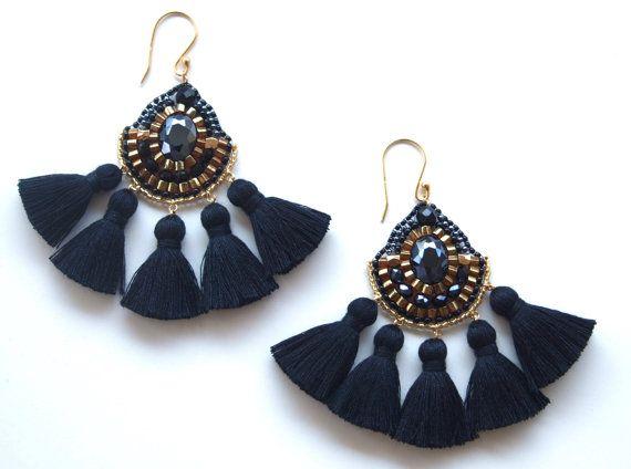 Seed Bead Earrings Beadwork Tassel Accessories by QJBoutique