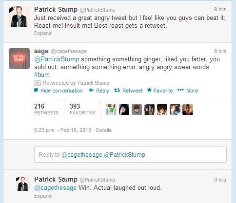 Patrick Stump you precious angel you lol but really dat tweet