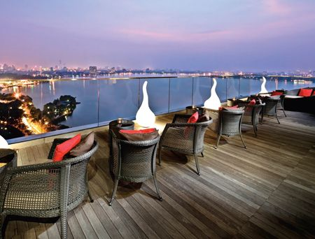 Summit Lounge at The Sofitel Plaza's 20th-floor with stunning views of West Lake. Enter by a cozy private elevator and hang out with expats and hip young Vietnamese.