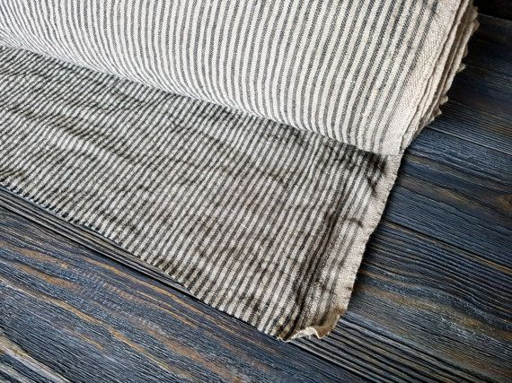 Softened striped linen fabric by the meter, tissu au metre flax fabric with stripes, striped stonewashed linen fabric by the yard 200GSM
