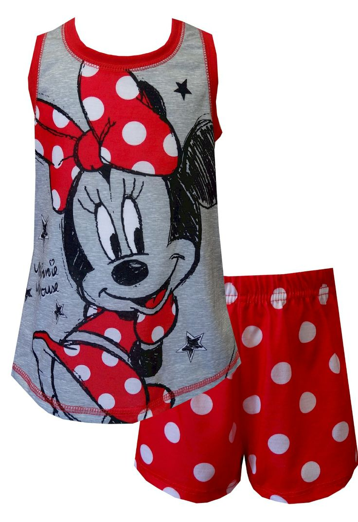 Disney's Minnie Mouse Red Polka Dot Shortie Pajama, $18  Totally fun! These flame resistant shortie pajama sets for girls feature a sketched version of Minnie Mouse wearing polka dots. Coordinating bottoms are red with white polka dots. Machine wash, easy care.