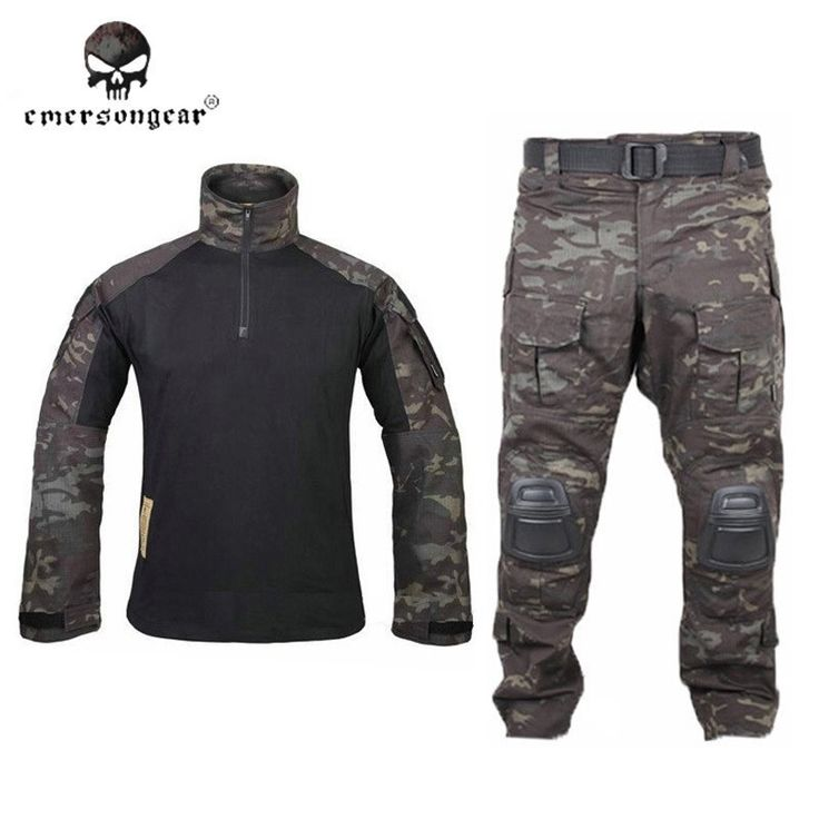 117.42$  Buy here  - Emersongear G3 Uniform Emerson BDU Shirt Pants Knee Pads Airsoft Tactical Camouflage Clothes Multi-cam Black MCBK Ghillie Suit