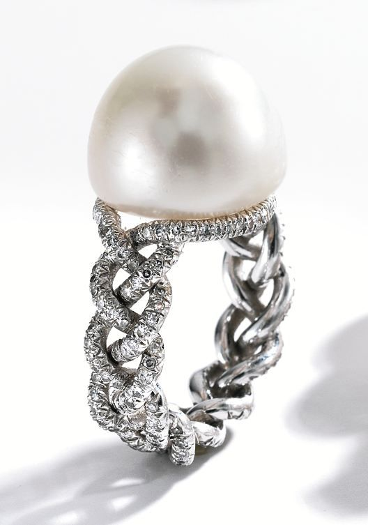 This would be even more beautiful with a diamond....Platinum, Natural Pearl and Diamond Ring, JAR, Paris