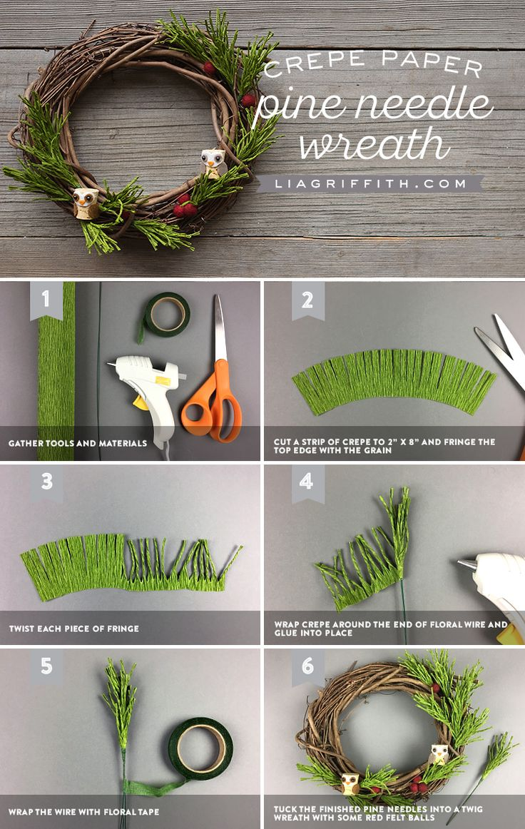 Crepe Pine Needle Wreath tutorial www.LiaGriffith.com