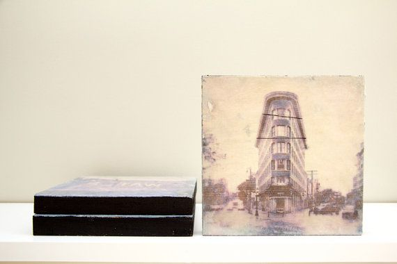 6x6 Wood Panel photography transfer. Titled / Gastown by Kaviandco, $25.00