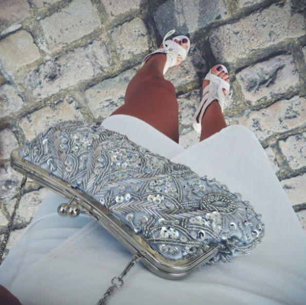 Vintage Styler silver ELSIE clutch styled by @YasmineChanel