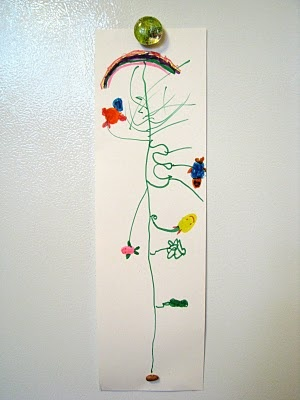"""Start with one """"magic"""" bean taped to the bottom along with an invitation to draw what it would become. Lovely! Reading Jack in the Beanstalk together would be a nice rainy day addition to this project."""