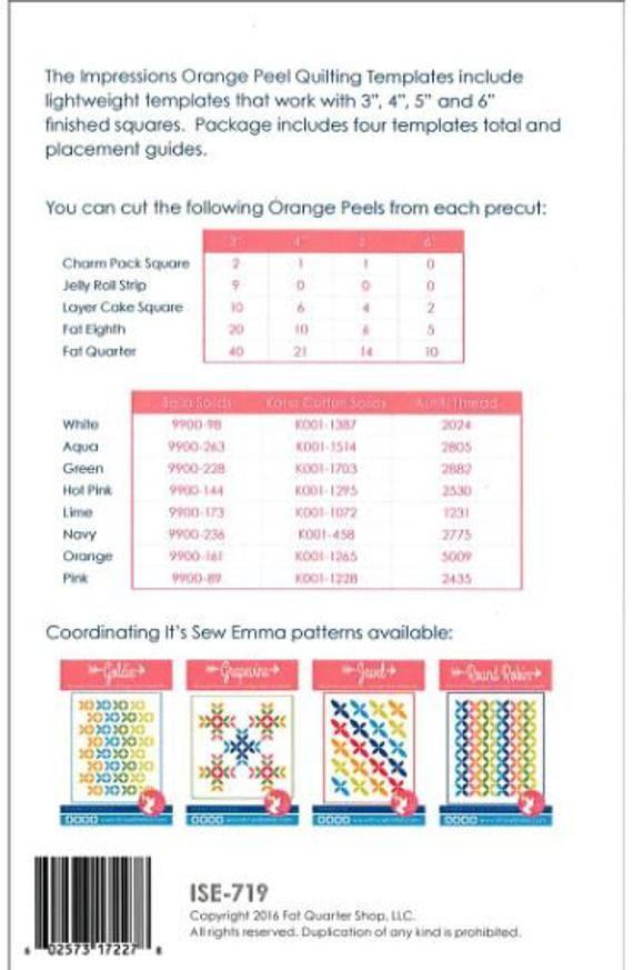 Impressions Quilting Templates Orange Peel Set Quilting Templates Sewing Templates Vintage Quilts Patterns