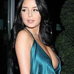 Demi Rose braless boobs pop out nip slip when celebrating her birthday in London 56x HQ photos