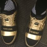 Nick Young rocks Gilbert Arenas' gold shoes - http://blog.clairepeetz.com/nick-young-rocks-gilbert-arenas-gold-shoes/