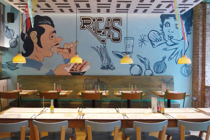 Wahaca - Restaurant hand-painted mural  #illustrative #bespoke graphics