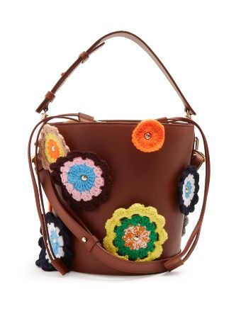Bucket crochet-appliqué leather and canvas tote