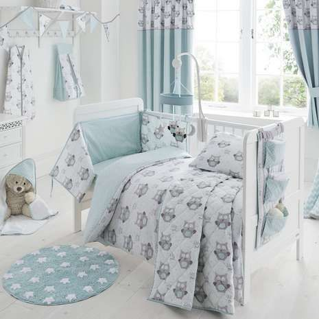 Dunelm Baby's Nursery little owls cot bed duvet set, £16.99.