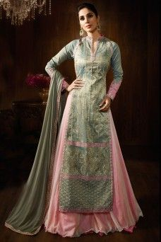 Grey and Pink Embroidered Party Wear Lehenga Style Anarkali Suit  #grey #pink #babypink #silk #lehenga_suit #suit #lehenga_choli #anarkali #designer #karma #gebastore