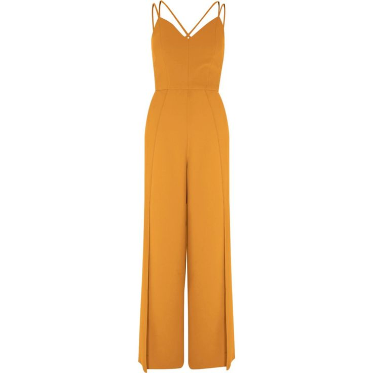 Woven crepe fabric Strappy front Cami shoulder straps Sleeveless Wide split leg Concealed zip back fastening Lined bodice Our model wears a UK 8 and is 175cm/5'9'' tall