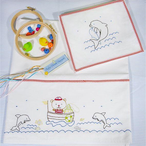 baby linen sheet pillowcasehand embroideredGreek summer