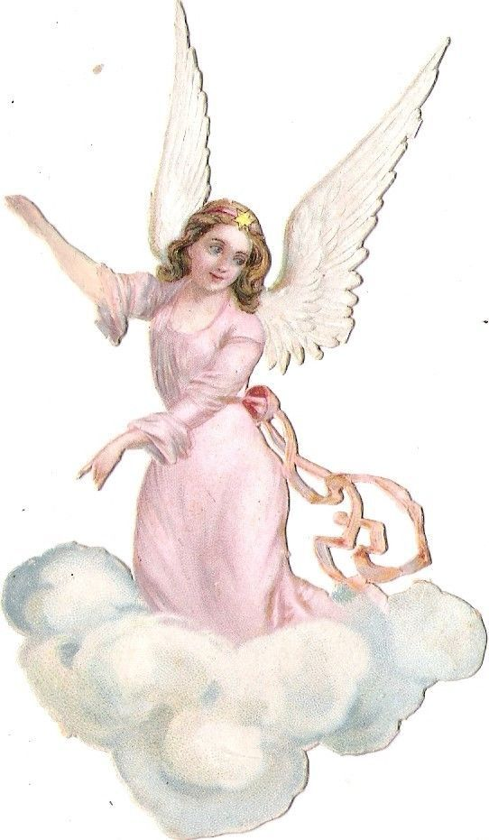 Oblate Glanzbild scrap die cut chromo Engel angel 12cm ange cherub cloud  Wolke