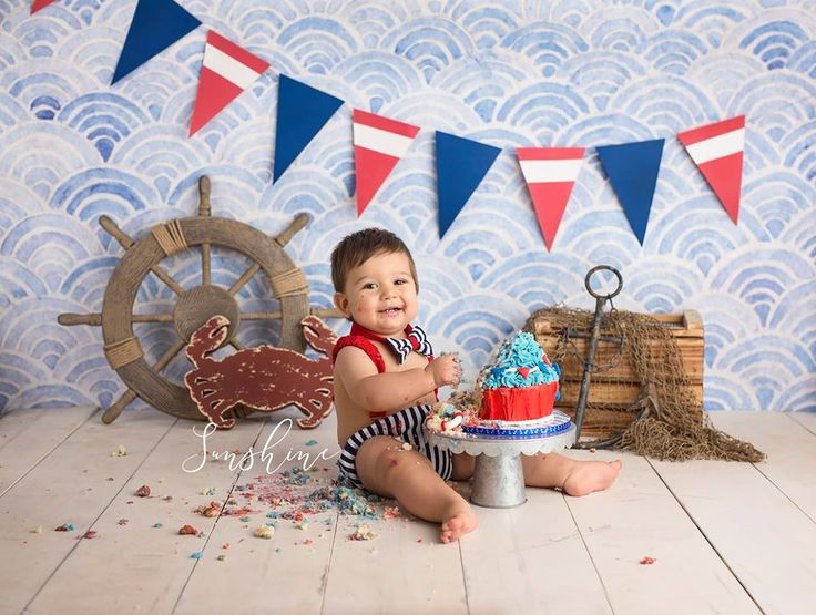Sailing away on his first birthday!  Nautical cake smash.  First Birthday Milestone Photography.  Sailing, Nautical, Ocean, Beach Themed cake smash.  Jacksonville Florida children photographer Sunshine Photography