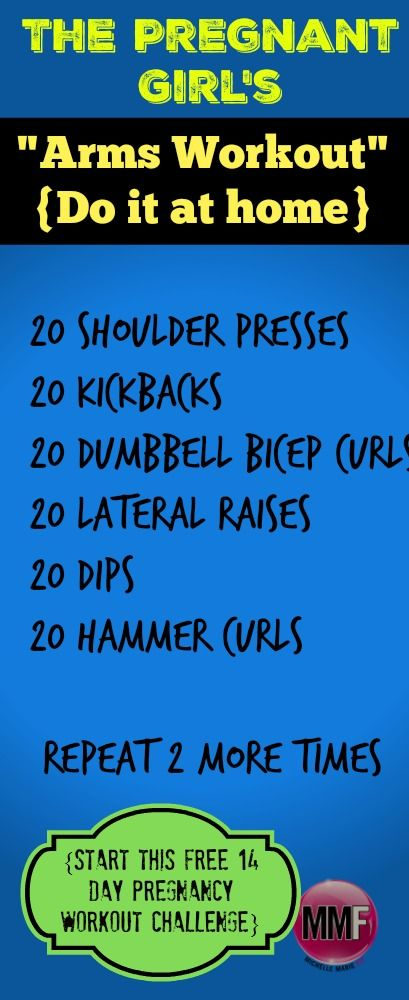 Pregnancy Arms Workout you can do at home.  Takes no more than 15 minutes.  Prevent gaining a ton of weight this pregnancy with this  14 Day Pregnancy Challenge. I want to jumpstart my health and fitness this pregnancy. Im doing this. there are Pictures and workout videos included and its free!  http://michellemariefit.com/pregnancy-workout-challenge-14-day-jumpstart/