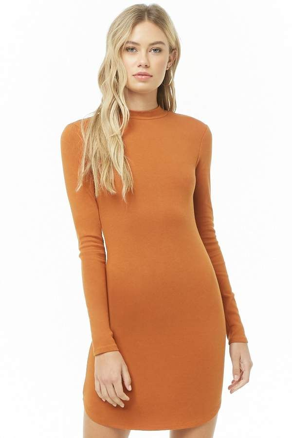 Forever 21 Mock Neck Bodycon Dress Mode Outfits Frauen Modestil Kleider