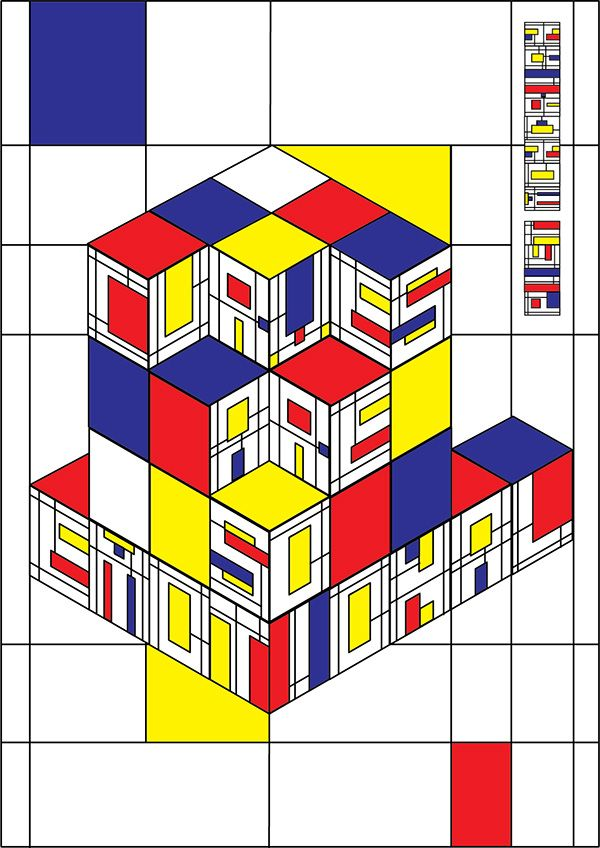 A school project which is a type-based poster that inspired by De Stijl art movement.