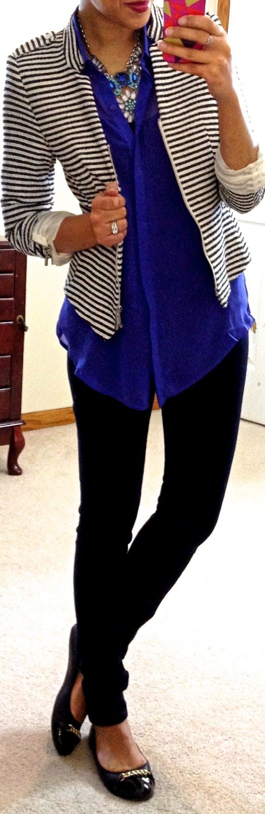 Blue button up, black and white striped blazer, black skinny jeans, and black flats
