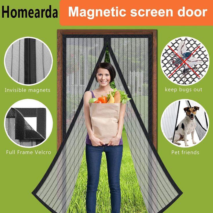 Homearda Magnetic Screen Door - Full Frame Velcro,Fits Door Up To 34x82 Inch