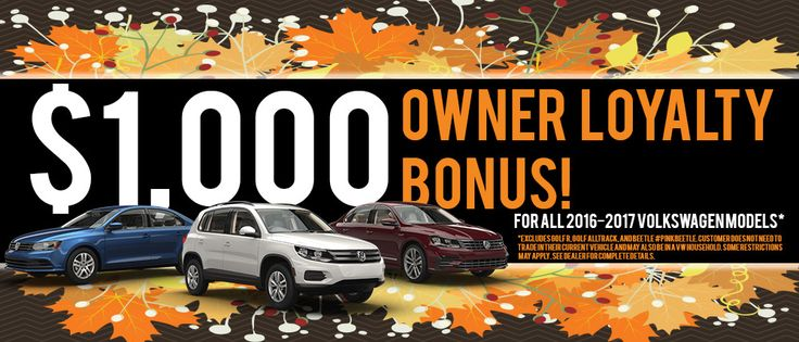 We give the royal treatment to our loyal drivers! Returning #Volkswagen owners may be eligible for a $1,000 #LoyaltyBonus toward the purchase or lease of select new 2016 or 2017 Volkswagen models NOW at #BozzaniVolkswagen! Start shopping TODAY: http://www.bozzanivw.com/VehicleSearchResults?model=Tiguan&model=Touareg&model=Golf GTI&model=Golf SportWagen&model=CC&model=Jetta Sedan&model=Beetle Coupe&model=e-Golf&model=Golf&model=Passat&model=Jetta&search=new&pageNumber=1&visitedVD=true! *Offer…