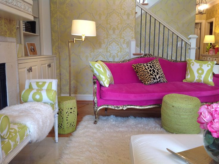 My Eclectic Pink And Green Living Room House Wants