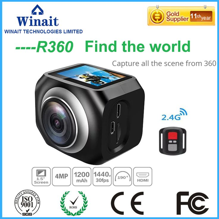 Winait 360 CameraFull HD 1080p 4K Wifi Mini Camera 220 degree super wide lens Romote controller Sport Driving VRCamera