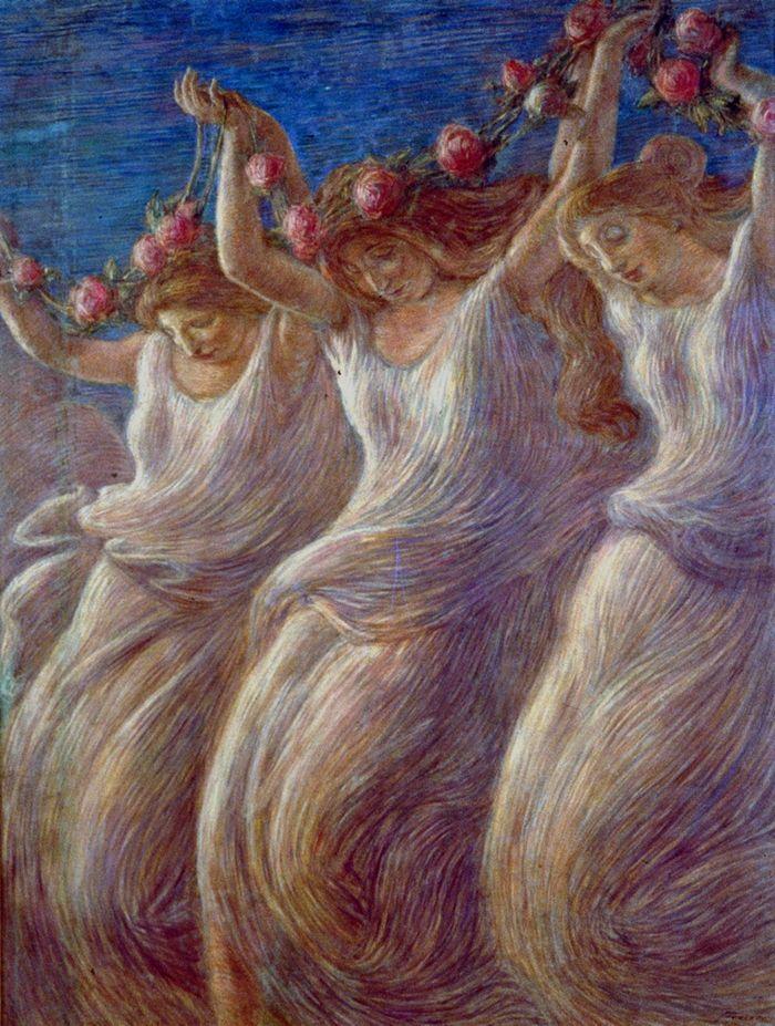 Gaetano Previati 1852-1920 | Italian Symbolist painter | La Pastorale, 1908