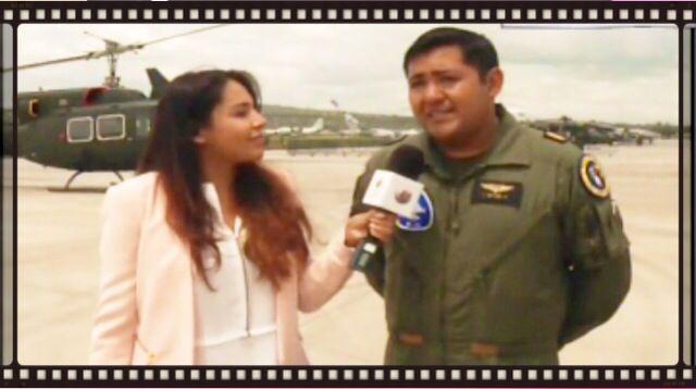 """Aquí estamos, transmitiendo en vivo desde la base militar aérea número 1 """"Santa Lucía"""",   22 de agosto"""