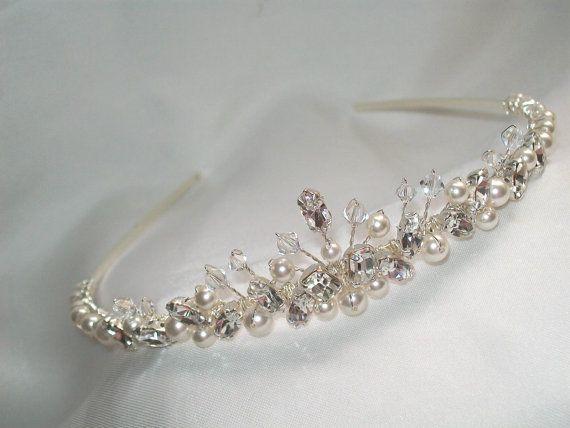 handmade swarovski wedding tiara ivory pearls clear crystals clear diamantes on Etsy, $77.14