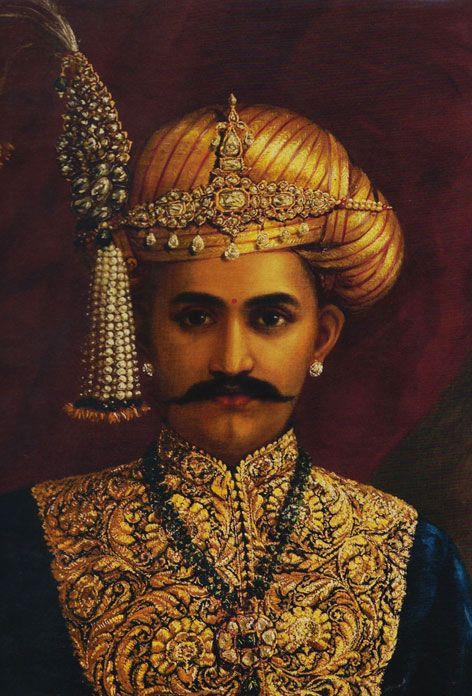 HH Sri Chamarajendra Wadiyar X  Splendidly attired in black velvet with zardozi embroidery, HH Sri Chamarajendra Wadiyar X in his youthful glory and grandeur. oil painting by Raja Ravi Varma (1848-1906)